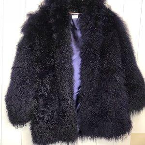 Tibet Lamb Authentic Navy Blue Fur Coat! Like New!